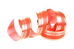 Twisted red ribbon Stock Photos