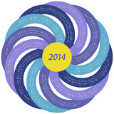 2014 twisted ribbon calendar. 2014 round calendar of twisted ribbons, blue, purple and yellow on white background stock illustration