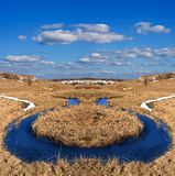Twisted river in a steppe Royalty Free Stock Photography
