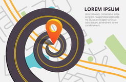 Twisted Road on a background map of the city top view. Vector illustration with orange pin, navigation. Can used for web Royalty Free Stock Photography