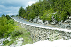 Twisted road on mountain top in New Paltz NY. On mountain range overlooking town Royalty Free Stock Photo
