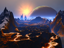 Twisted Rock Canyon on Distant World. View across a torturous rocky canyon to the huge planet and sun in orbit royalty free illustration