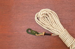 Twisted rope with a carabiner Royalty Free Stock Images