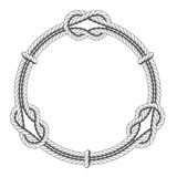 Twisted rope circle - round frame and knots. Twisted rope circle - round frame with knots Royalty Free Stock Image
