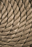 Twisted rope. Equipment on board sailing ship Stock Photography