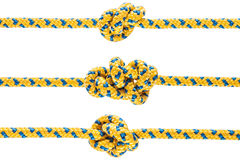 Tied knot on rope or spring Royalty Free Stock Photography