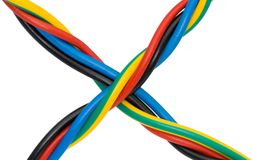 Twisted Rubber Covered Wires Stock Photo