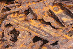 Twisted rusted metal wreck. Twisted rusted metal pieces from old shipwreck Stock Photos