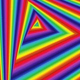 Twisted sequence with spectrum triangle forms. Concentric triangle shapes forming the sequence with swirl pseudo 3D effect, abstract vector pattern in multicolor Stock Photography