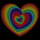 Twisted spectrum of heart shapes over black Royalty Free Stock Images