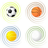 Twisted sport balls Stock Photo