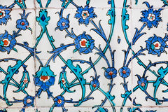 Twisted stems of flowers on vintage tiles in Ottoman style Stock Images