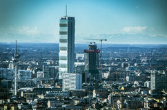 The Twisted and the Straight One Towers, Citylife, Milan Royalty Free Stock Photos