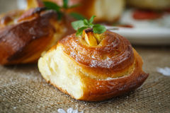 Twisted sweet buns with apple Royalty Free Stock Image