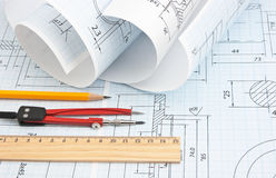 Twisted technical drawing Stock Photography