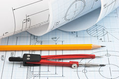 Twisted technical drawing Royalty Free Stock Images