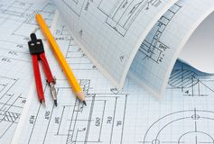 Twisted technical drawing. And tools royalty free stock photo