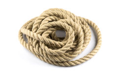 Twisted thick rope. Isolated on white background Stock Image