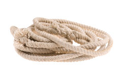 Twisted thick rope on white Stock Photo