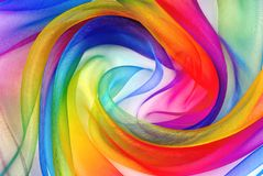 Twisted twirl of organza fabric. Multicolour texture stock image