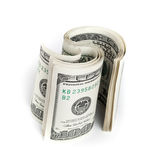 Twisted United States dollars. Hundred USD banknotes Stock Image