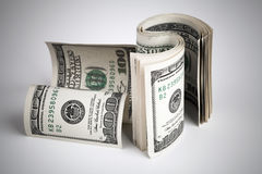 Twisted United States dollars. USD banknotes Stock Photo