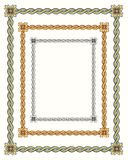 3 twisted vintage rope frames. 3 twisted vintage frames in different colors, green, gold, black Stock Image