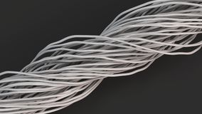 Twisted white cables and wires on black surface. Computer or telephone network. 3D rendering illustration Royalty Free Stock Image