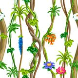 Twisted wild liana branch seamless pattern. Jungle vines plant. Woody natural tropical rainforest vector illustration
