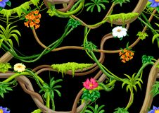 Twisted wild liana branch seamless pattern. Jungle vines plant. Woody natural tropical rainforest stock illustration