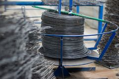 Coil of twisted wire rope. stock photos