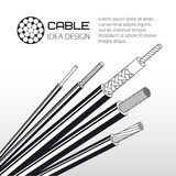 Twisted wire, solid and stranded cable. Vector illustration Royalty Free Stock Photo