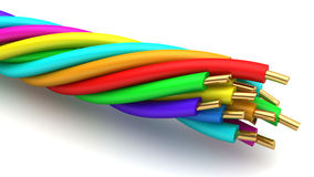 Twisted wires. 3d illustration of colorful tisted wires over white background Stock Photography