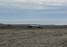 Twisted wreckage from an airplane crash in South Iceland, Europe stock photo
