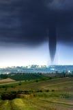 Twister. With lightning near my  farm Stock Photo