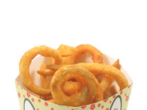 Twister fries in the box. Isolated white Royalty Free Stock Photography