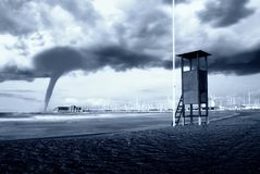 Twister incoming. Big twister arriving from the sea Stock Images