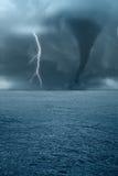 Twister op de oceaan Stock Afbeelding