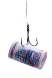 Twisting banknotes hanging on a hook Royalty Free Stock Photos