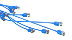 Twisting blue internet cables. conceptual 3d illustration of ethernet cable and rj-45 plug. With white background. suitable for any internet, technolgy Royalty Free Stock Photo