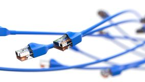 Twisting blue internet cables. conceptual 3d illustration of ethernet cable and rj-45 plug. With white background. suitable for any internet, technolgy Royalty Free Stock Photography