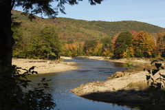Twisting channel of the Pemigewasset River, New Hampshire. Stock Photo