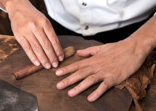 Twisting cigar. The hands of men twisting his cigar Royalty Free Stock Photo