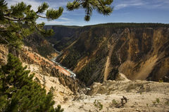 Twisting course of the Yellowstone River through the canyon, Wyo Stock Photo