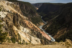 Twisting course of the Yellowstone River through the canyon, Wyo Stock Image