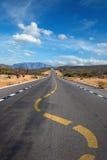 Twisting lane marking on road. In desert Royalty Free Stock Images