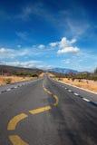 Twisting lane marking on road in desert Royalty Free Stock Photo