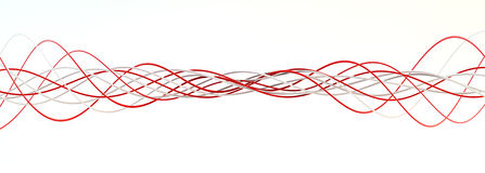 Twisting red and white strings Royalty Free Stock Images
