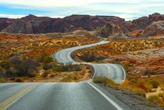 Twisting road. In the Fire State National Park in Nevada Royalty Free Stock Photography