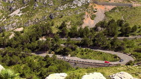 Twisting Road in the mountains of Mallorca. Video clip stock footage